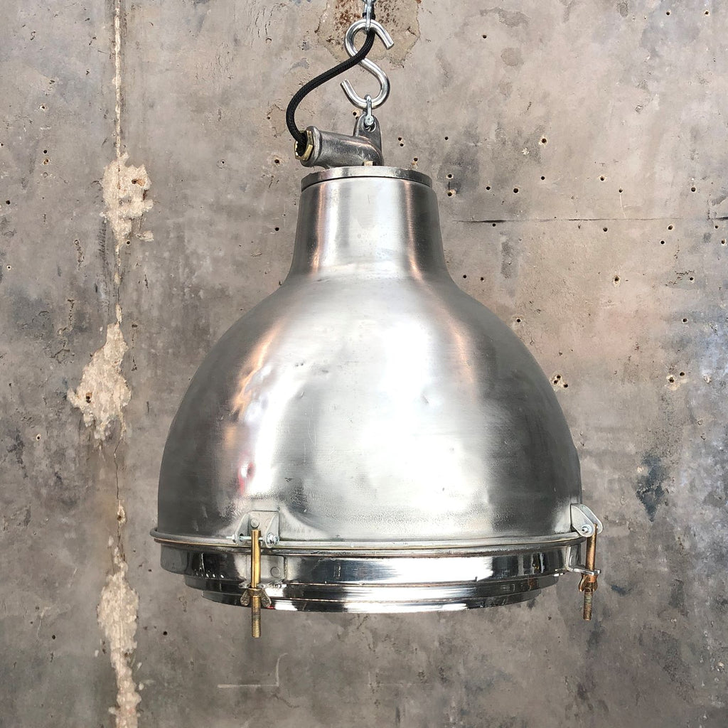 Vintage industrial satin aluminium dome ceiling pendant with glass lens