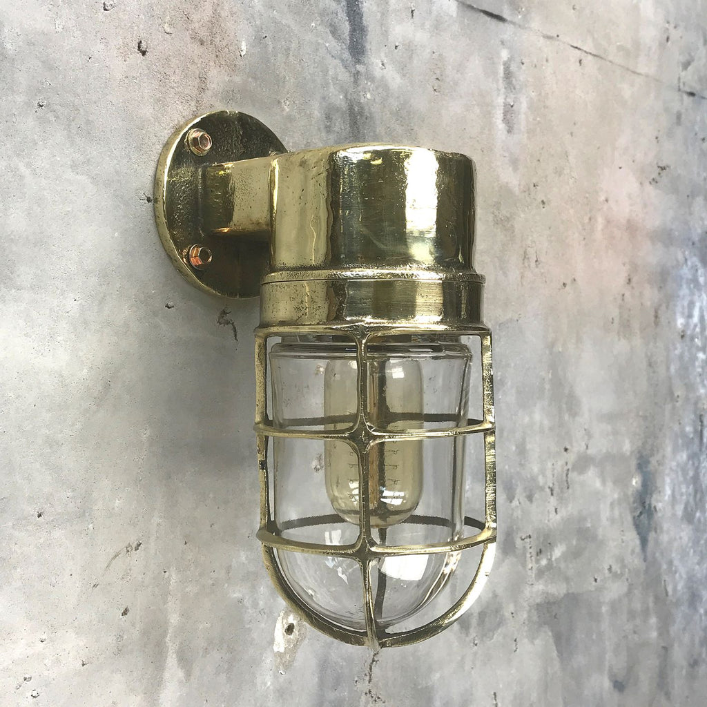 Retro industrial cast brass 90 degree outdoor wall light with protective cage