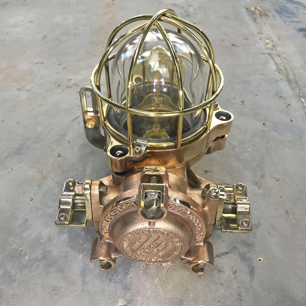 Vintage industrial cast bronze flameproof LED wall cage light