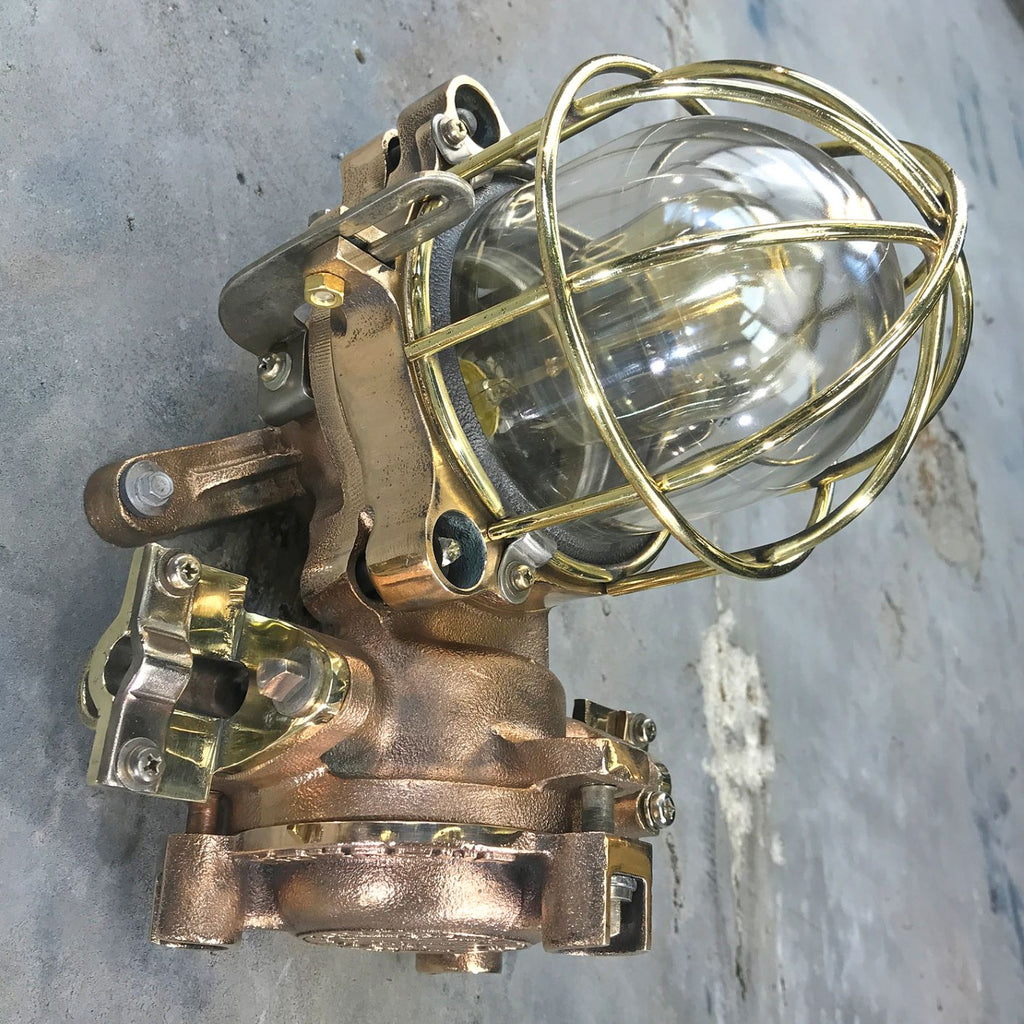 A retro industrial cast bronze flameproof wall cage light