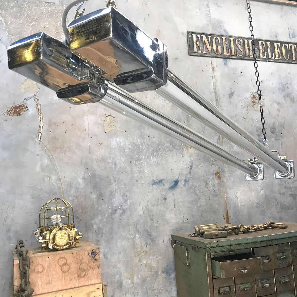 Large retro industrial aluminium ceiling striplight by Crompton Lamps.