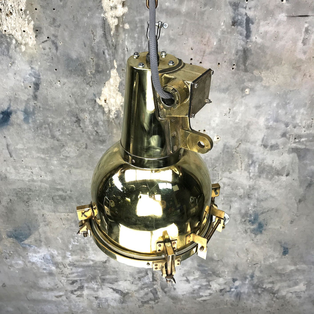 Vintage industrial brass Searchlight ceiling pendant