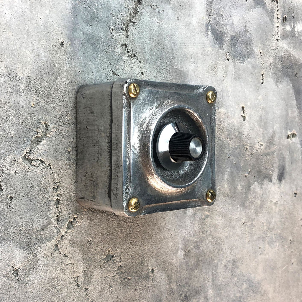 Single industrial dimmer light switch made from recycled alloy