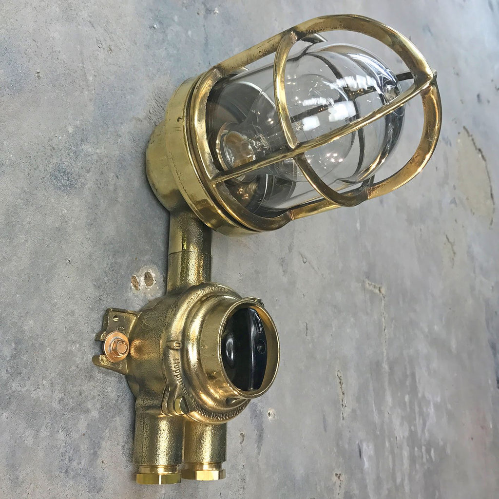 A retro industrial small brass explosion proof outdoor wall light with cage