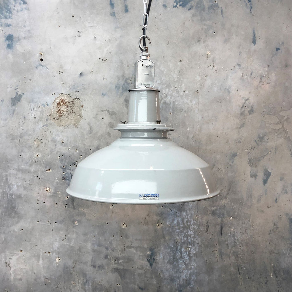 British Mid Century Grey Enamel Ceiling Factory Light by Thorlux