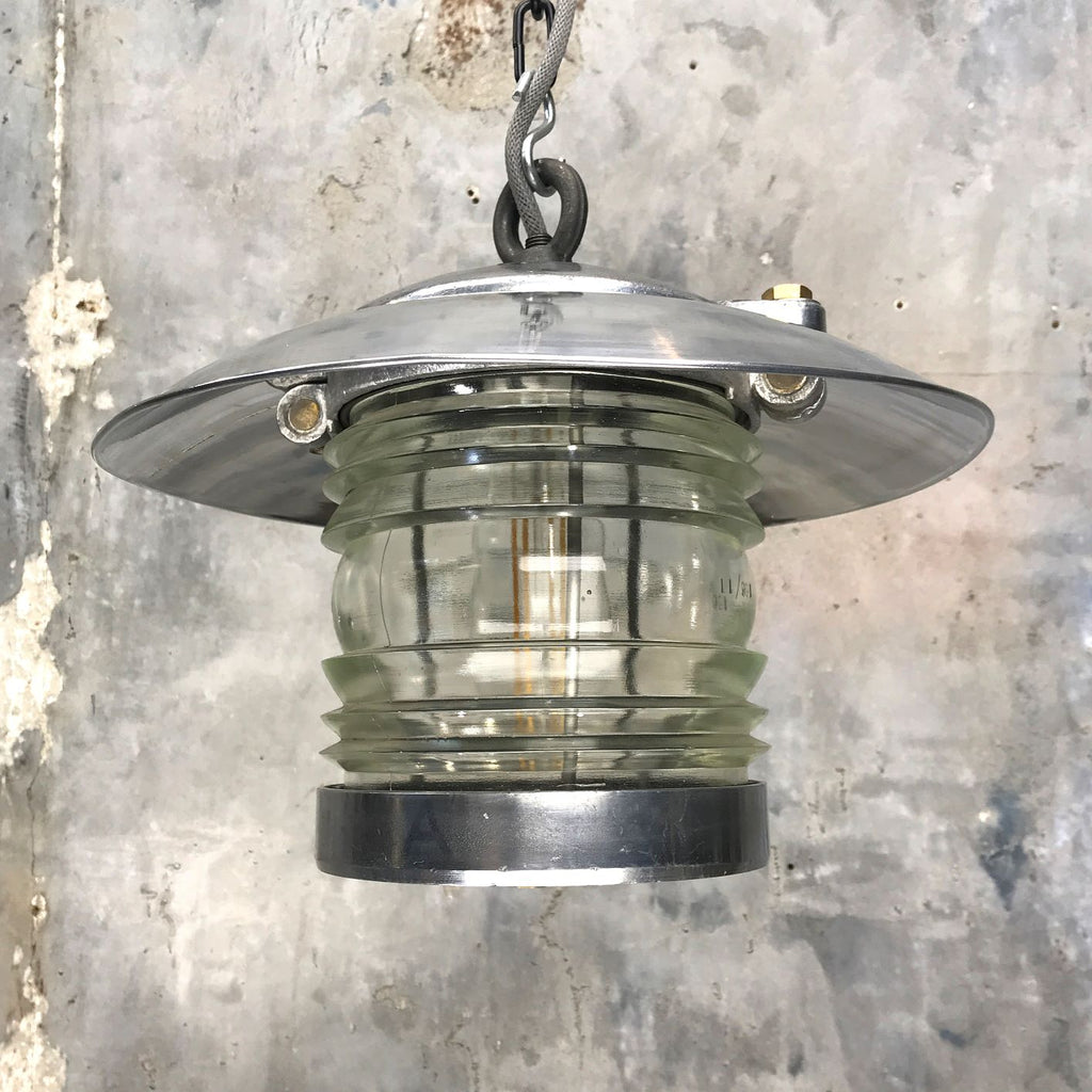 Vintage marine fresnel glass ceiling lamp with aluminium shade