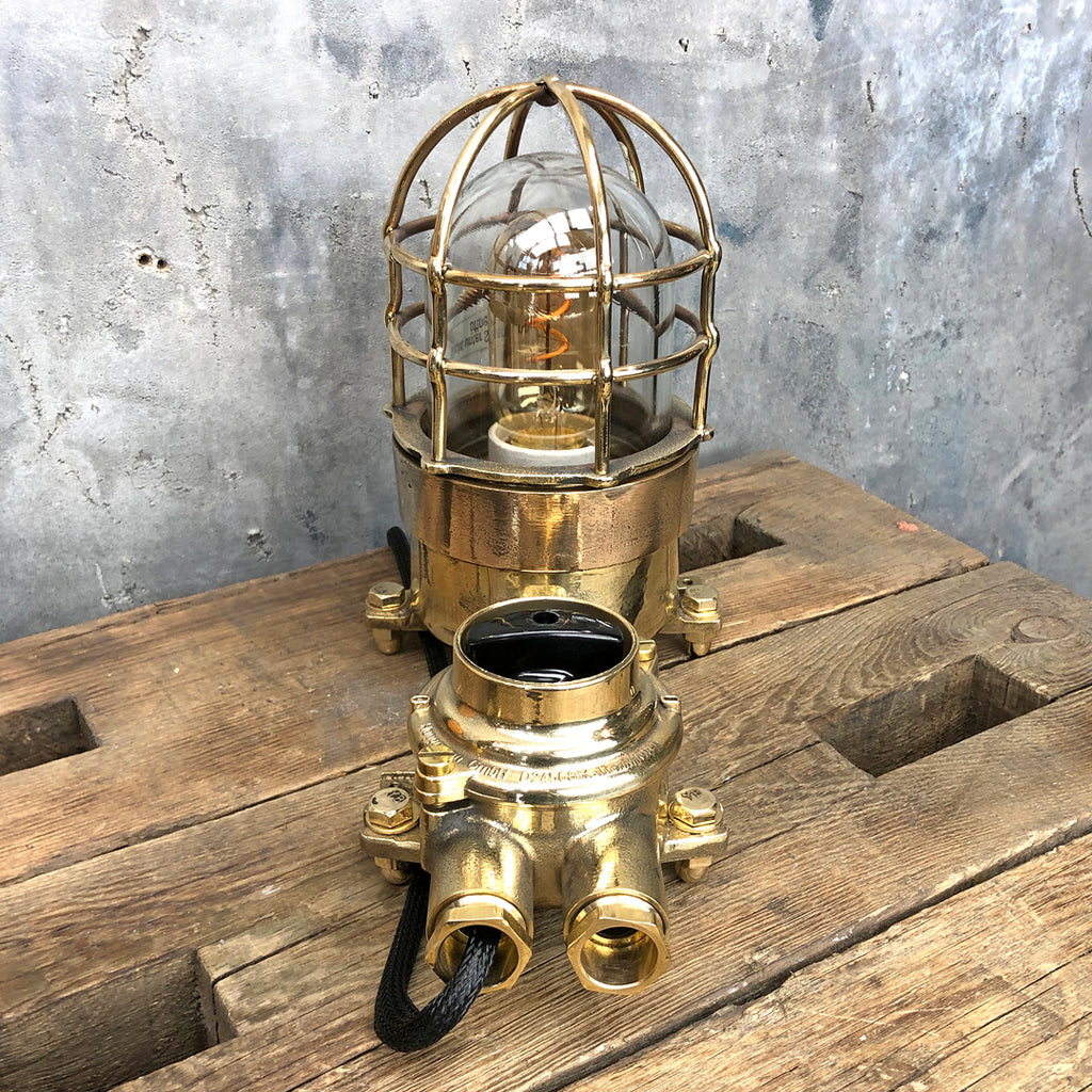 German Cast Brass & Bronze Explosion Proof Table Lamp with Isolator Switch