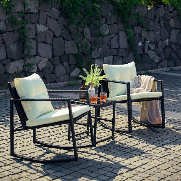 Tremendous 3 Pcs Outdoor Rocking Chair Patio Bistro Set With Glass Top Ibusinesslaw Wood Chair Design Ideas Ibusinesslaworg