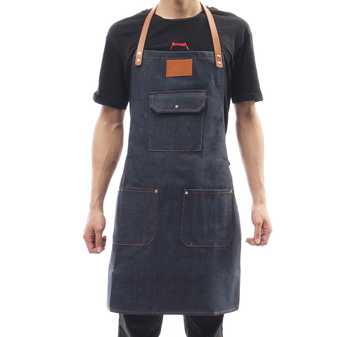 Bartender BBQ Chef Cooking Aprons Denim Bib Apron Leather Strap Barista Baker Work Uniform Household Cleaning Tools Sleeveless