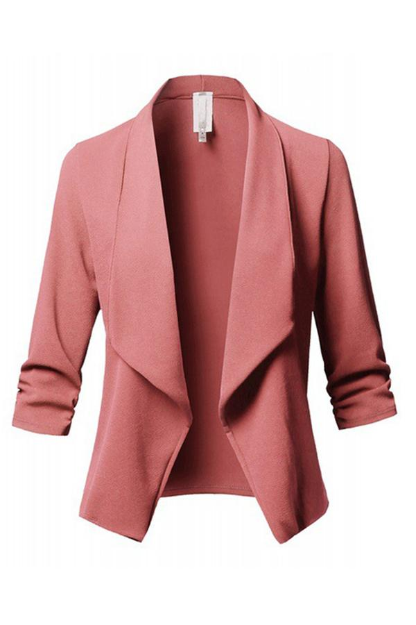 5 Colors Plus Size Lapel Solid Color Outwear