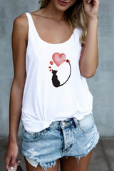 Cat&Heart Print Sleeveless T-Shirt