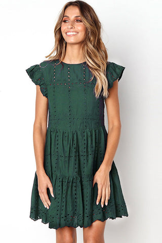 3 Colors Hollowed-out Ruffle Dress