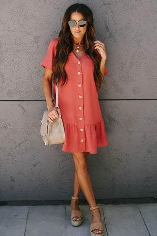 Chicseagal Give + Take Pocketed Button Down Dress
