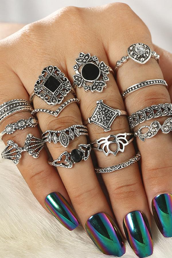 Cute Hollow Out Lotus Ring Set