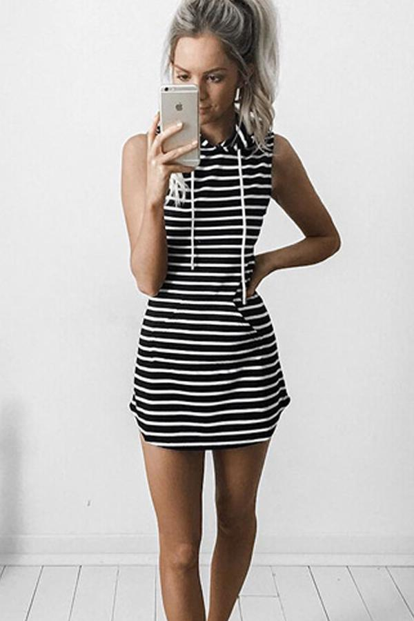 Sleeveless Hooded Drawstring Causal Mini Dress