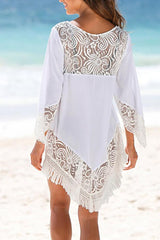 Chicseagal Lace Panel Tassel Cover Up