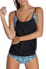 Chicseagal Flower Print Slim Tankini Set