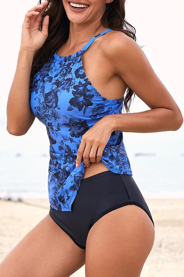 Flower Print Slim Tankini Set