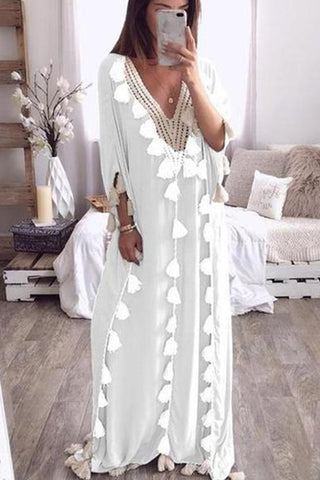 Chicseagal V Collar Loose Fringe Decorated Vacation Dress