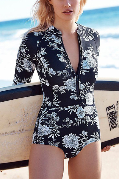 Chicseagal Long Sleeved Print One-piece Swimwear