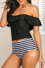 Chicseagal High Waist Off The Shoulder Tankini Set