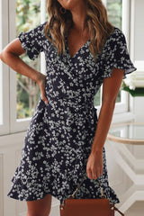 V Neck Floral Printed Navy Mini Dress