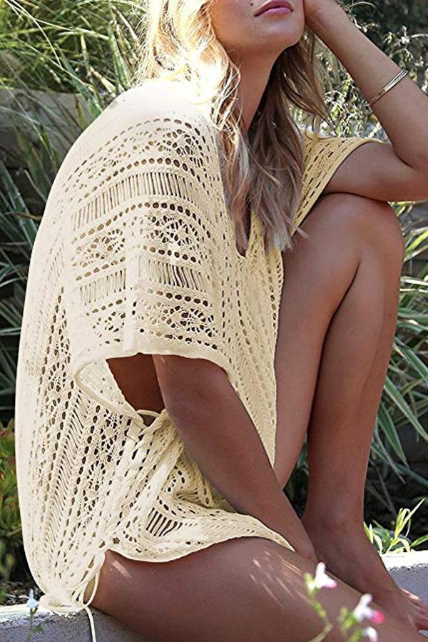 Chicseagal Solid Color Crochet Cover-Up