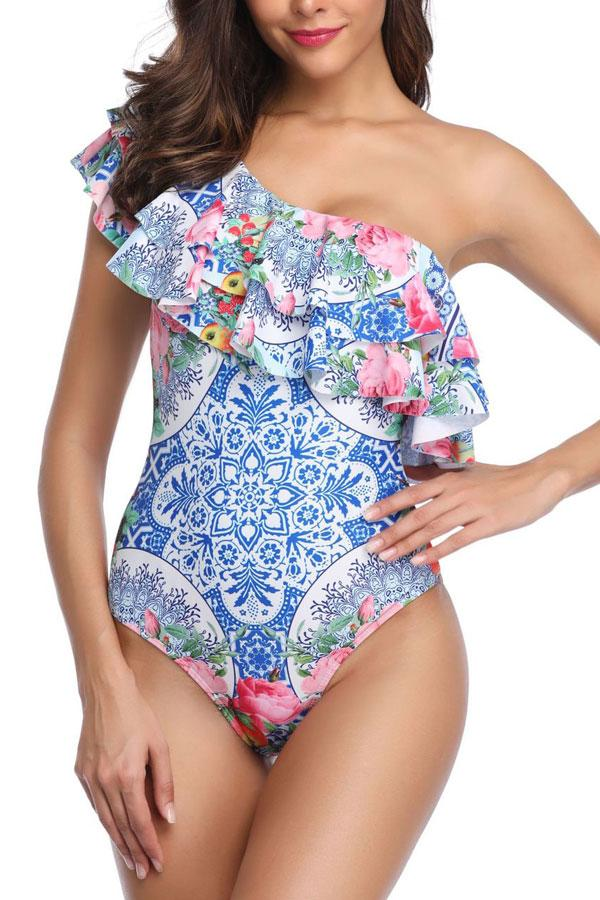 Chicseagal Layered Ruffle Overlay One Piece Swimsuit