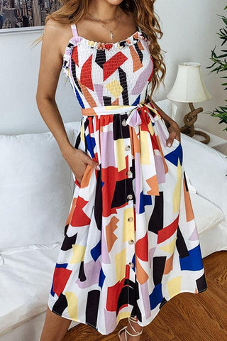 Geometric Print Smocked Chest Belted Midi Dress