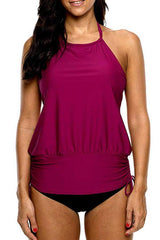 Plus Size Drawstring Side Halter Neck Tankini Set