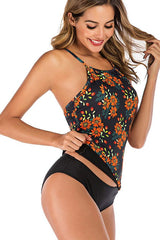 Flower Print Criss Cross Back Tankini Set