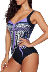Retro Flower Print One Piece Swimwear