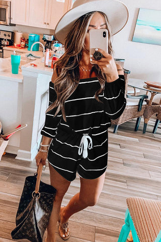 Chicseagal Stripe Print Off The Shoulder Jumpsuits
