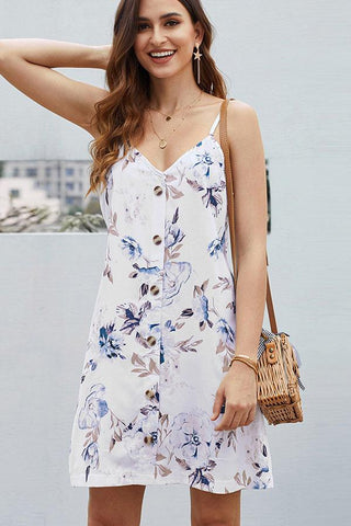 4 Colors Button Up Flower Print Tunic Cami Dress