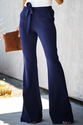 Solid Color Tie Front Flare Pants