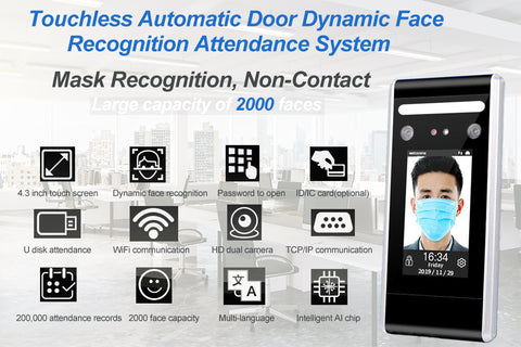 touchless automatic swing door opener with face recognition attendance device