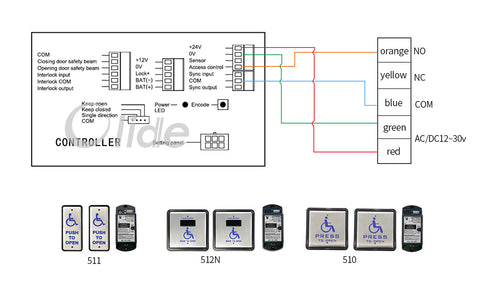 Olide-120B wiring diagram with M-512N wireless touchless activation handicap switch