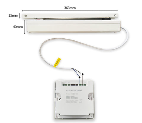 90° automatic swing window opener wiring with receiver