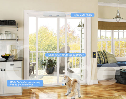 olidesmart automatic sliding door opener with pet fob sensor tags