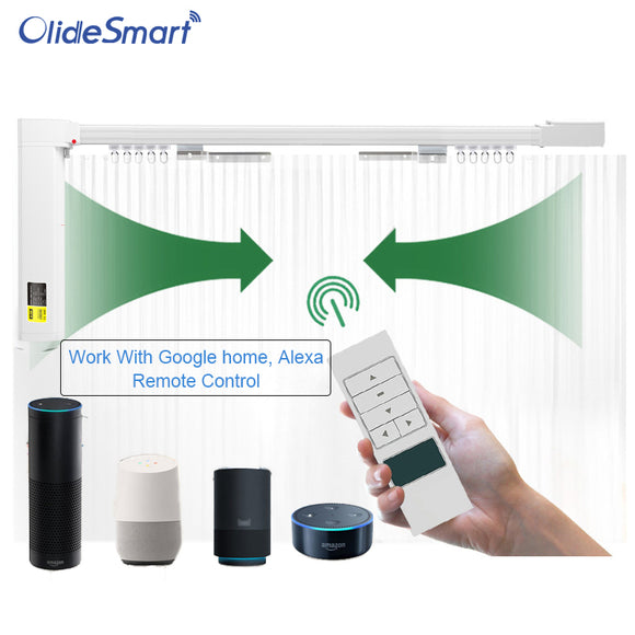 olidesmart Wifi Smart Automatic Curtain Motor Track System Works with Amazon Alexa Echo Google Home