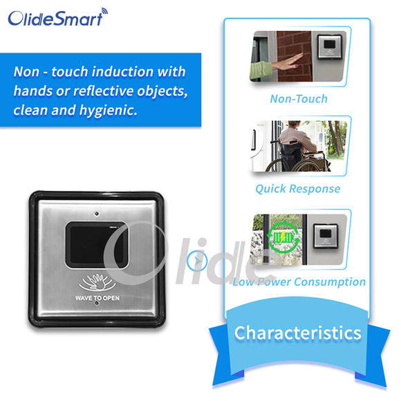 Olidesmart Wireless/Wired Touchless Infrared Switch, Hand Wave to Open Switch