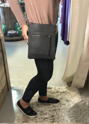Charcoal/Black Zipper Crossbody