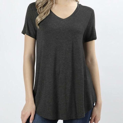 'Lexi' Charcoal V Neck Top