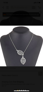 Leaf Slide Silver Tone Necklace