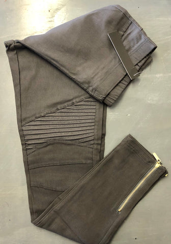 Charcoal Moto Jeggings - 1X w gold ankle zip