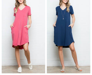 Plus! Everyday V Neck Dress Navy & Coral