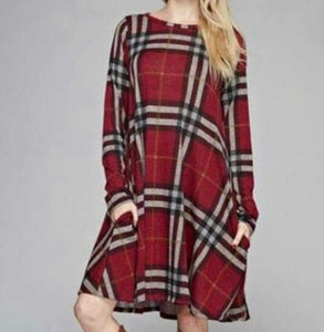Plaid Long Sleeve Shift Dress