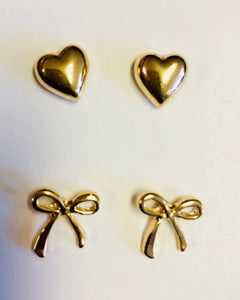 Gold tone Hearts & Bows Earrings