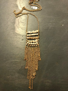 Stone & Gold Tone Chain Long Necklace