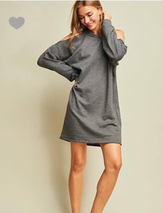 Entro Grey Sweater Dress Cold Shoulder Large